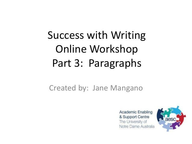 Success with Writing  Online Workshop Part 3: ParagraphsCreated by: Jane Mangano