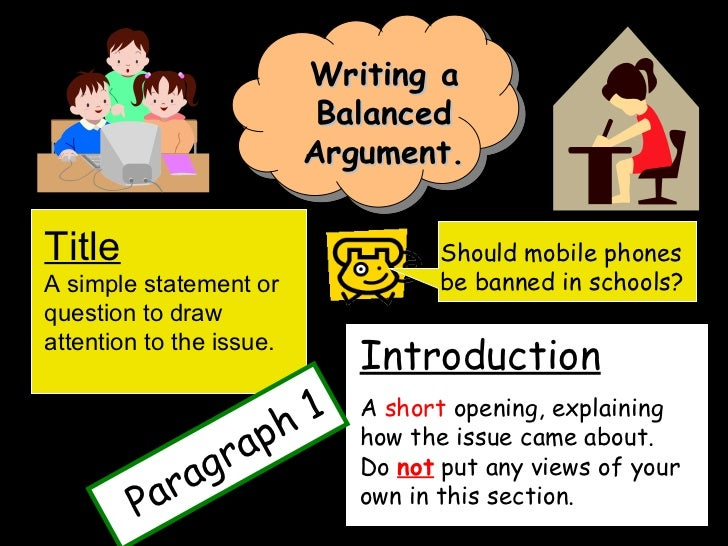 Writing a Balanced Argument. Title A simple statement or question to ...
