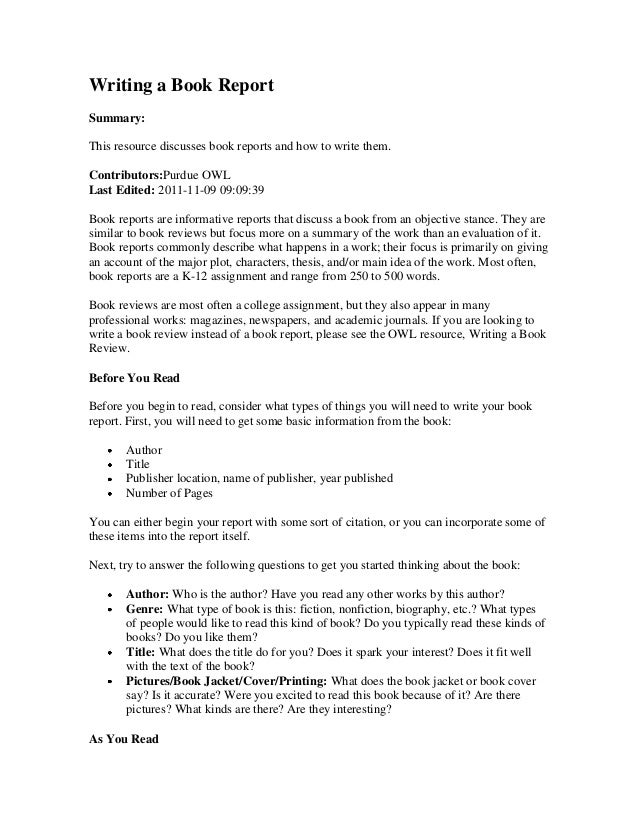 Writing a book report summary