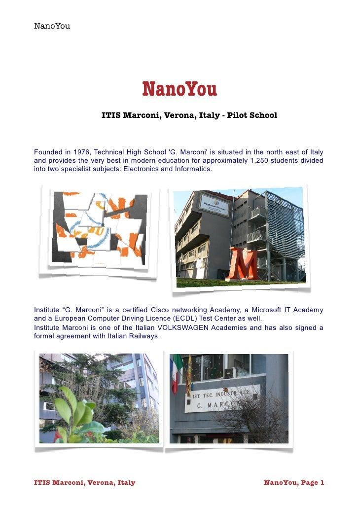 NanoYou                                      NanoYou                      ITIS Marconi, Verona, Italy - Pilot School    Fo...