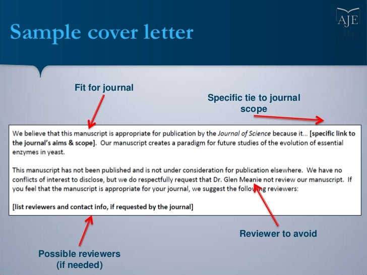 sample cover letter for scientific journal