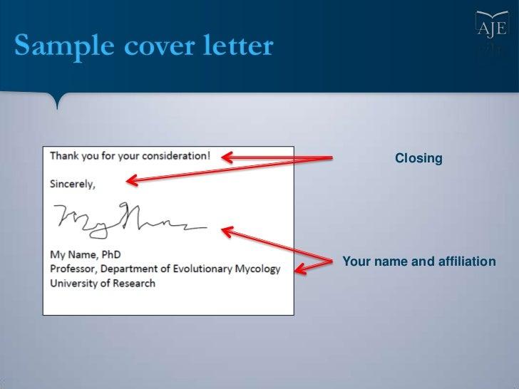 Cover letter sample scientific article