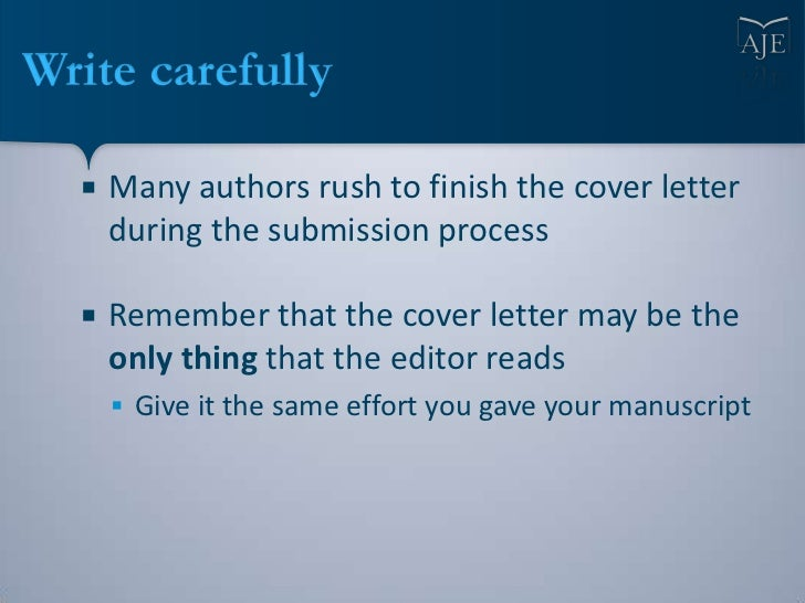 Writing a Cover Letter for a Journal Article Submission