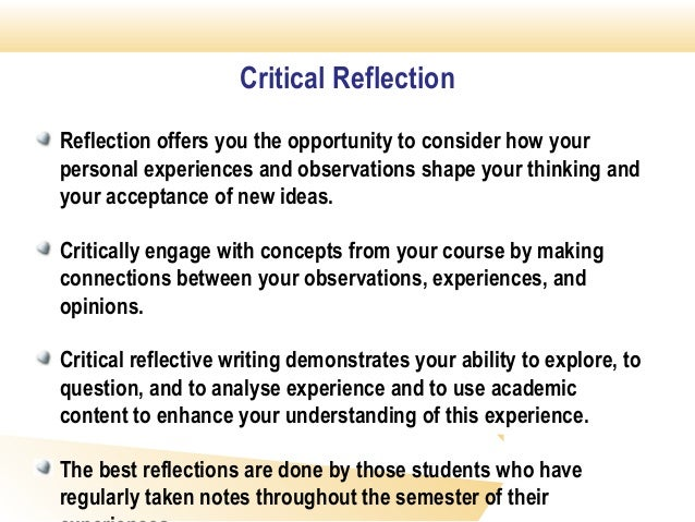 reflection paper on critical thinking This page provides information about critical reflection as a critical component of experiential learning.