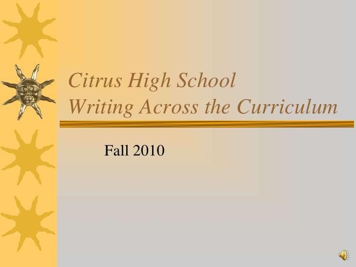 9/1/2010 - Writing Across the Curriculum