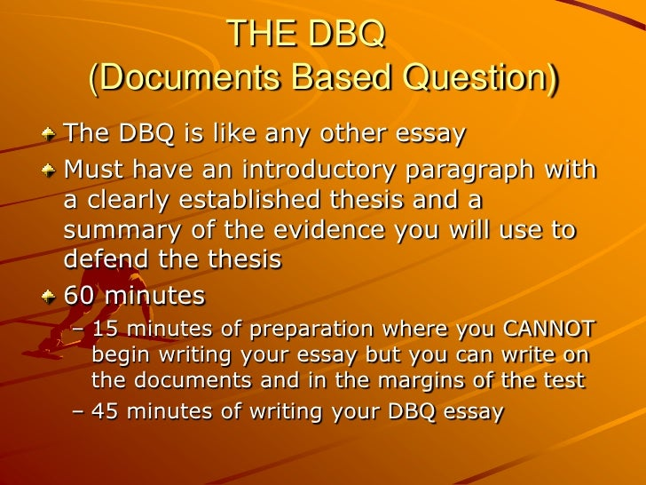 Help on writing a dbq essay