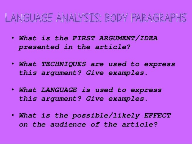 When writing a language analysis essay...?