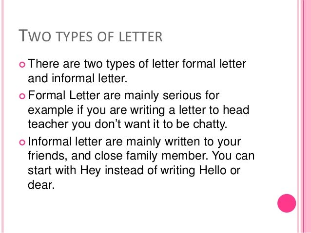 Type Of Letters Writing Writing A Letter