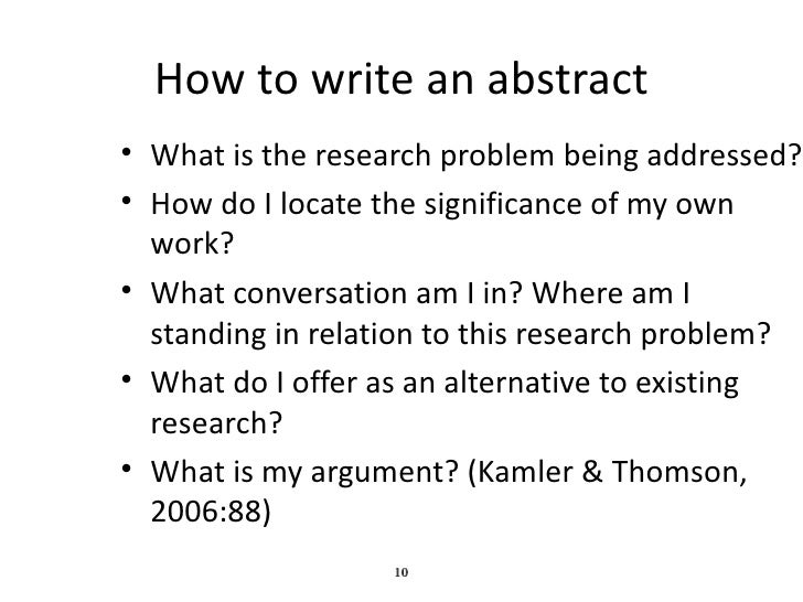 writing an abstract for a thesis