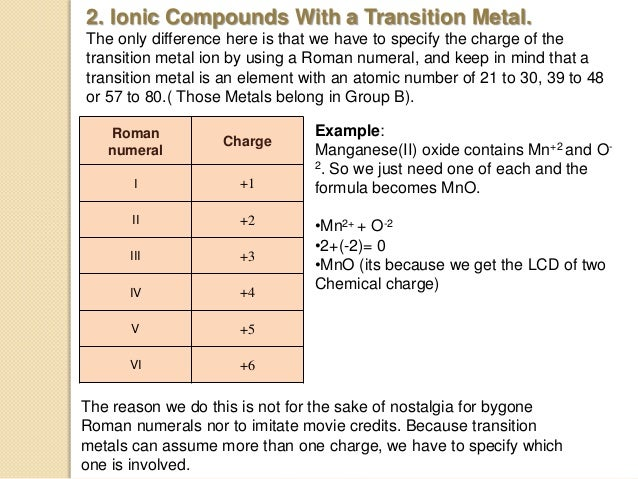 Transition Metals in Compounds?