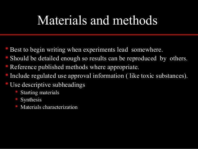 Materials and methods in research paper