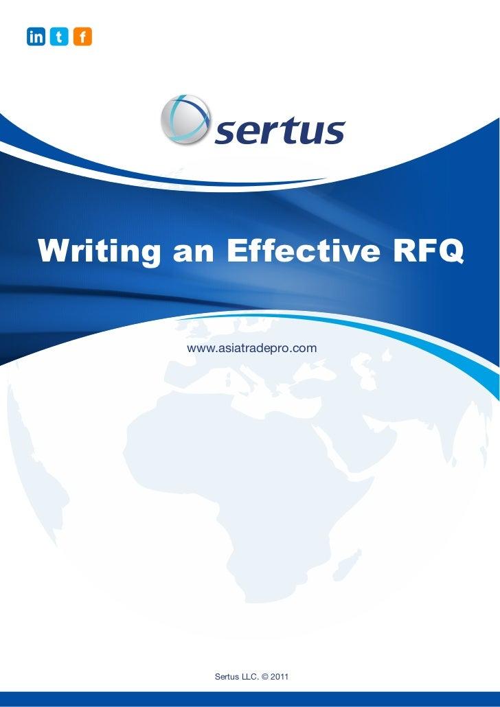 Writing an Effective RFQ