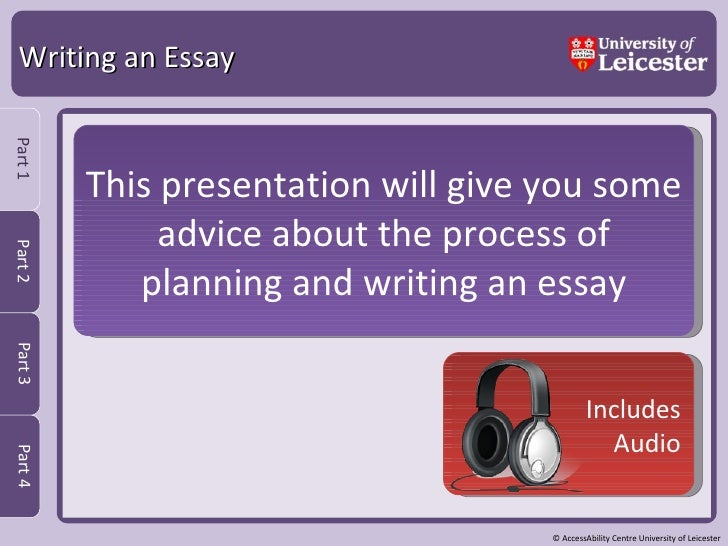 Writing an Essay This presentation will give you some advice about the process of planning and writing an essay Includes A...