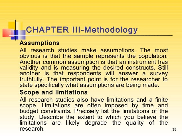 Assumptions in research proposal