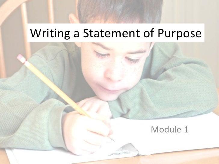 Writing a Statement of Purpose Module 1