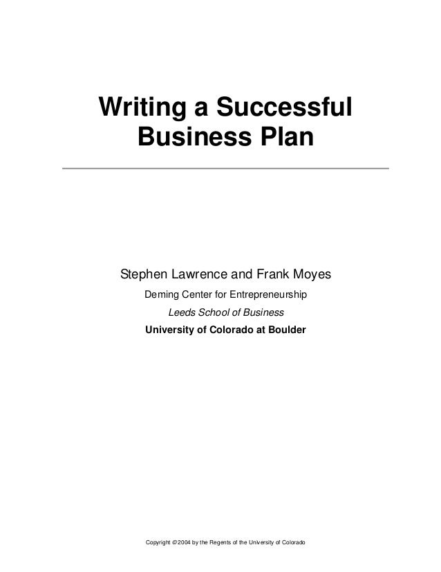 Writing a great business plan