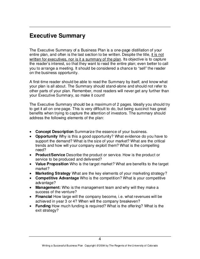 executive summary business plan