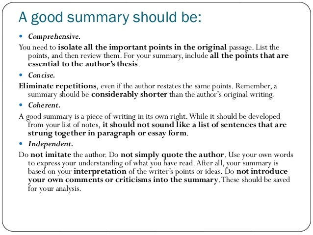 writing good summary essay Summary writing: functions on the web-site for teachers and learners of english  as a secondary language from a german point of view.