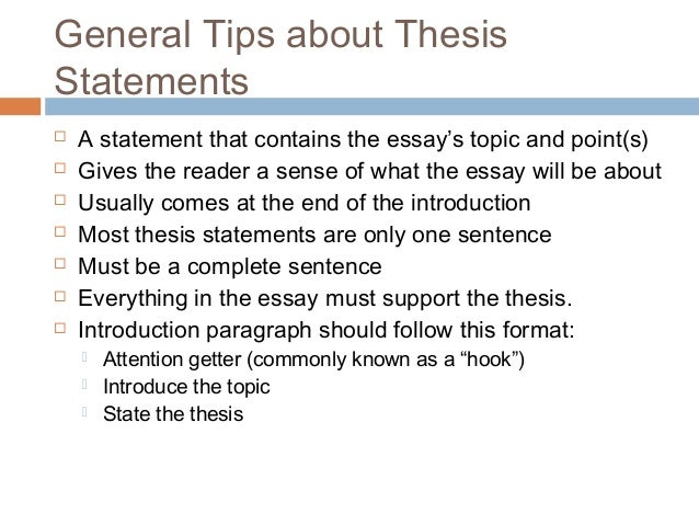 ... to include - Writing Tips: Thesis Statements - The Center for Writing