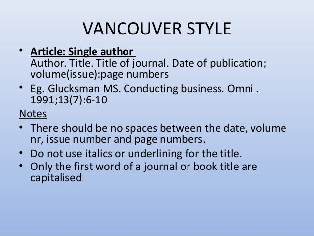 Good thesis writing vancouver styles