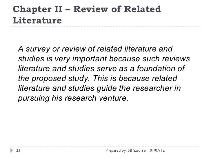 Review Of Related Literature Sample