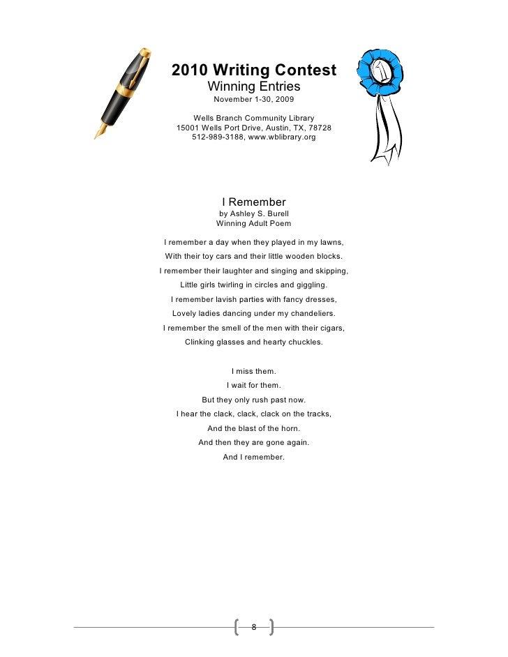 2010 Writing Contest              Winning Entries                November 1-30, 2009          Wells Branch Community Libra...