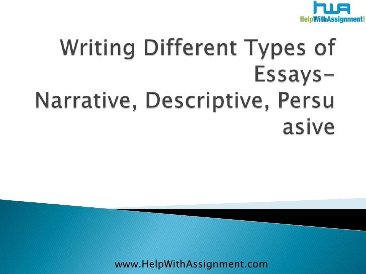 Writing different types of essays  narrative, descriptive, persuasive