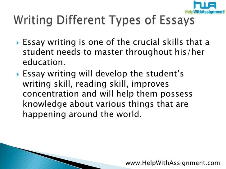 different types of descriptive essay Different types of essays to achieve academic success learn the proper use of narrative, descriptive, expository and persuasive styles thru this article.