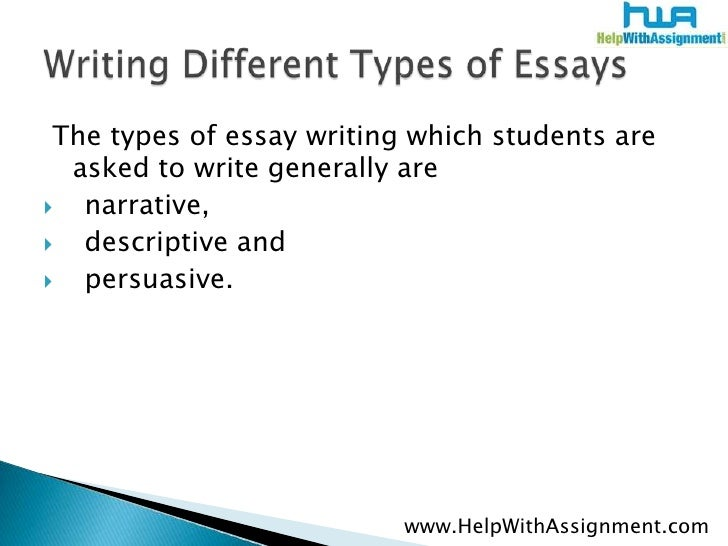 what are the different kinds of essay What are the different types of essays - 5 main types of essays are descriptive essay, narrative essay, argumentative essay, persuasive essay, expository.