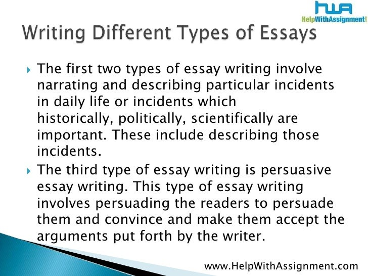 Types of essay writing with examples