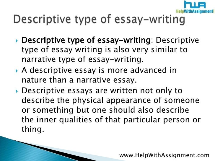 two types of descriptive essay There are three types of paragraphs in a descriptive essay: the  the sentences  of an introduction have a different purpose than the sentences.