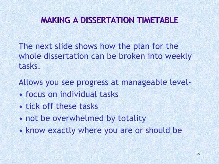 Dissertation writing schedule