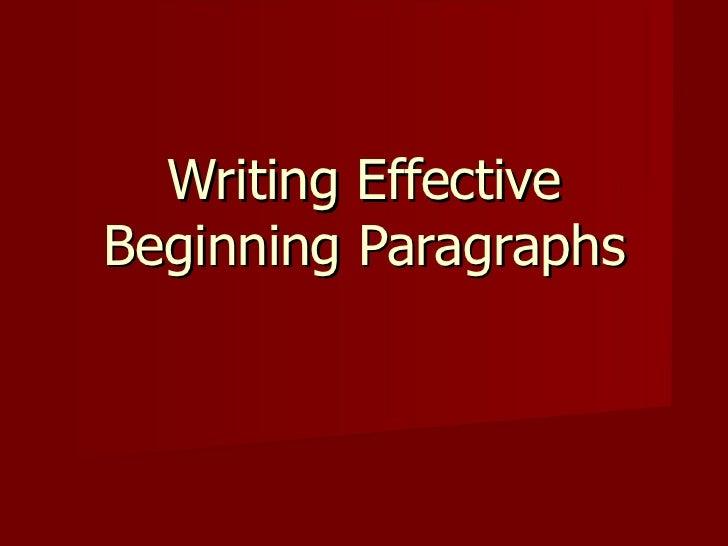 Writing Effective Beginning Paragraphs