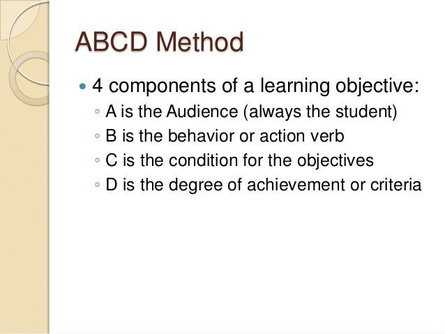 Learning objectives for essay writing