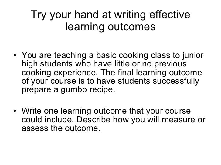 How to write a learning outcome
