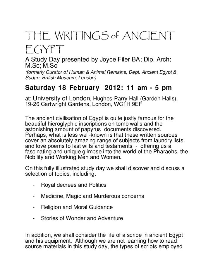 Booking form - Writings of Ancient Egypt