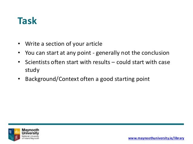 How to write academic articles for publication