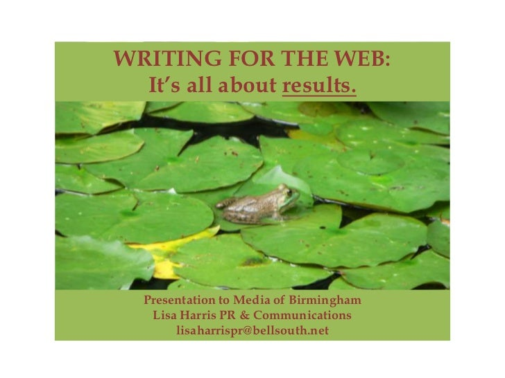 Writing for the Web - It's all about RESULTS