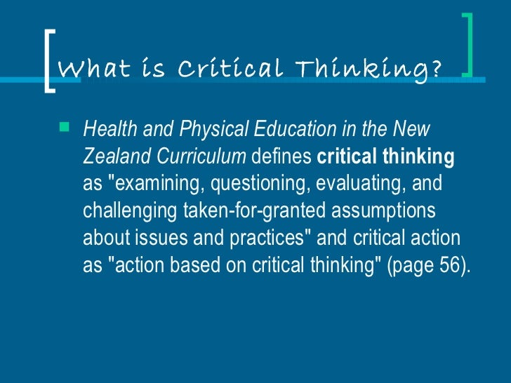 what is critical thinking in higher education