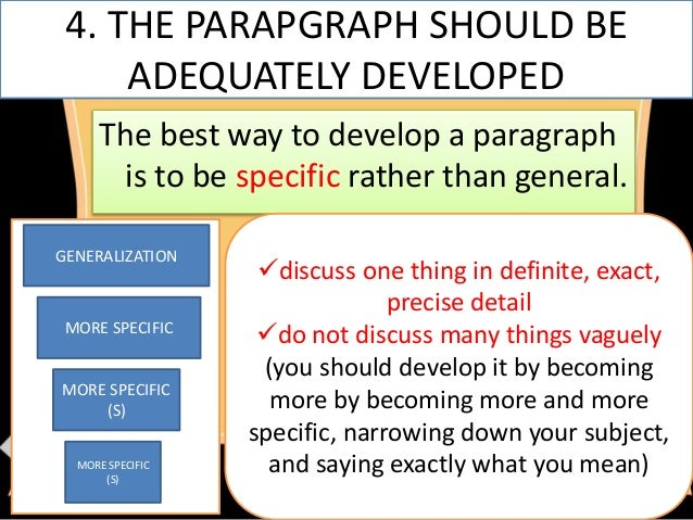 generalization paragraph The topic sentence and paragraph organization when you read directions, your texts, and the articles you research, when you read • generalization/principal.