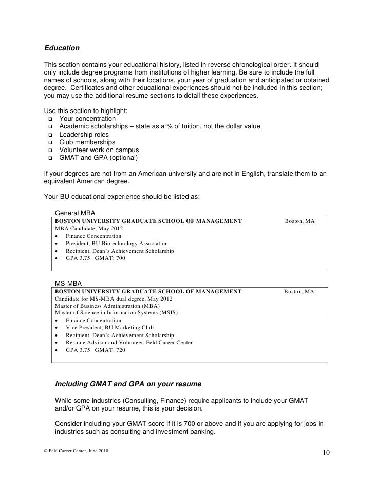 Resume education chronological order