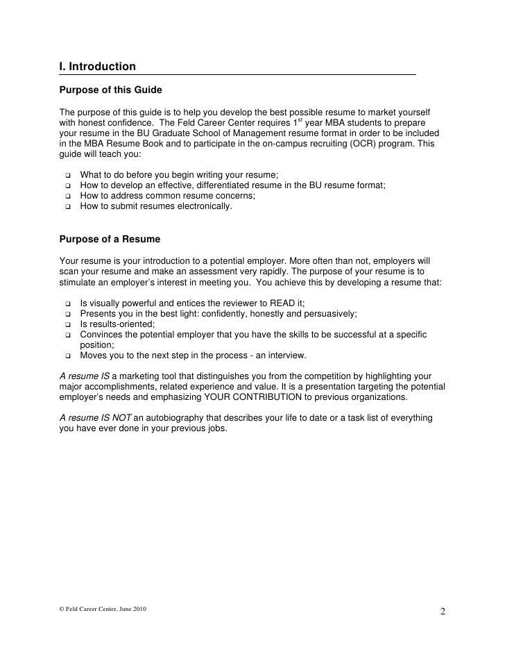 mba admission resume sample