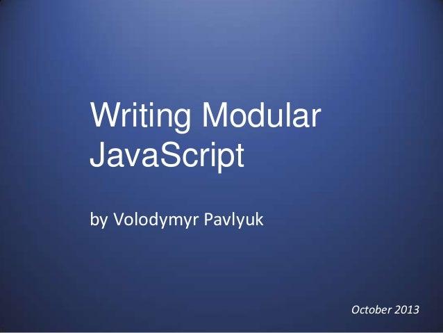 Writing modular java script