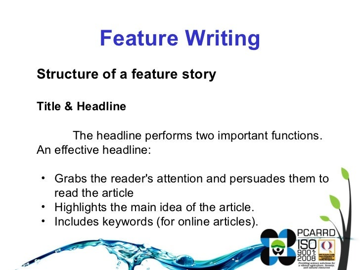 What are: news paper terms and structure of a story?
