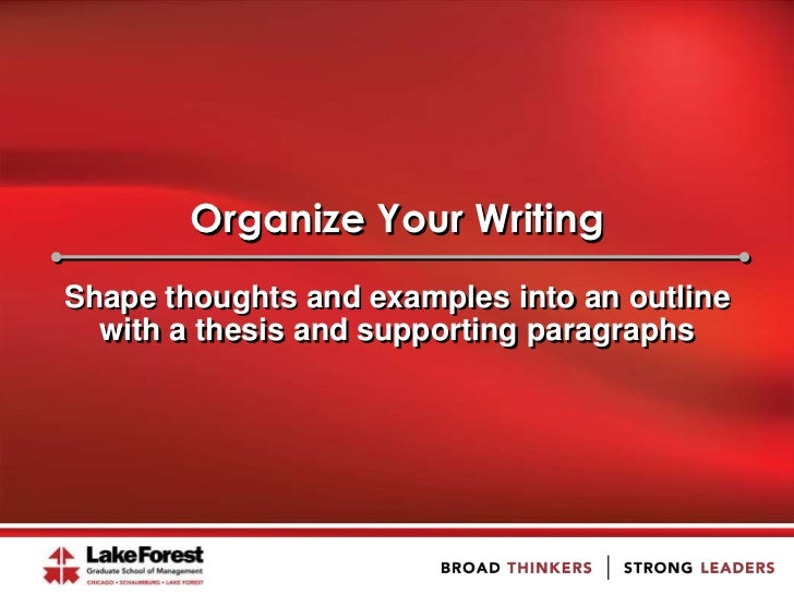 Organize Your WritingShape thoughts and examples into an outline  with a thesis and supporting paragraphs
