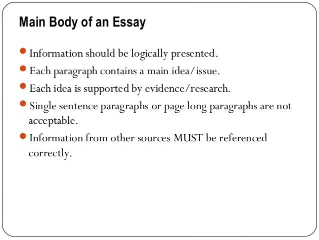 informative essay body How to write an informative essay: an informative essay outline looks pretty much the same to most of the academic essays it has an introduction, 3 body.