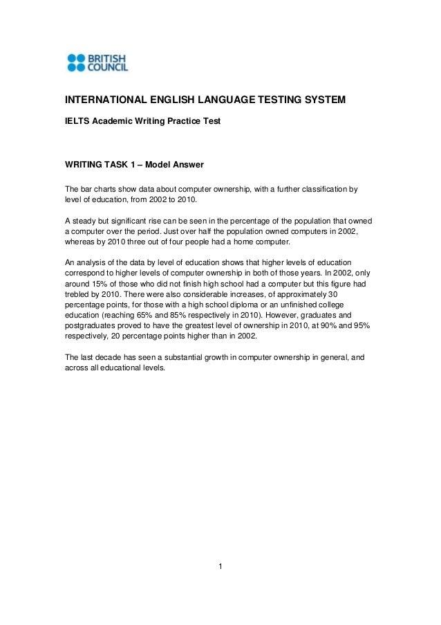1 INTERNATIONAL ENGLISH LANGUAGE TESTING SYSTEM IELTS Academic Writing Practice Test WRITING TASK 1 – Model Answer The bar...