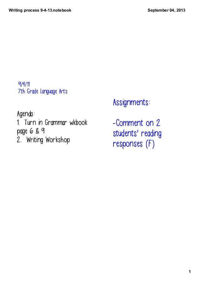 Writingprocess9413.notebook 1 September04,2013 9/4/11 7th Grade Language Arts Agenda: 1. Turn in Grammar wkbook page...
