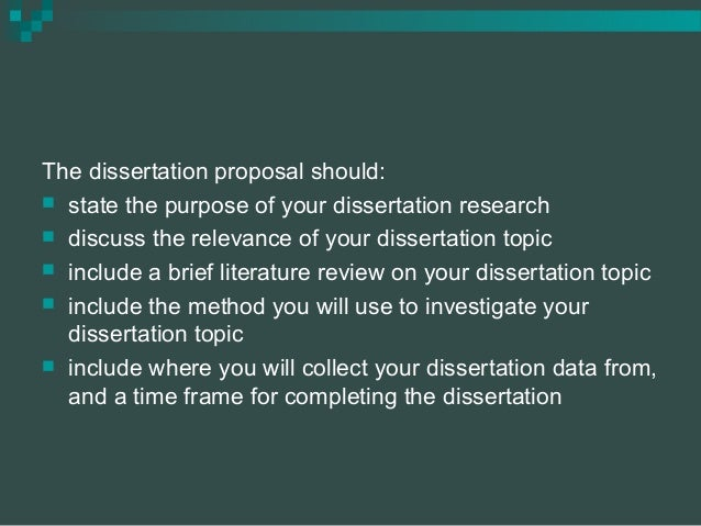 dissertation proposal statement of purpose