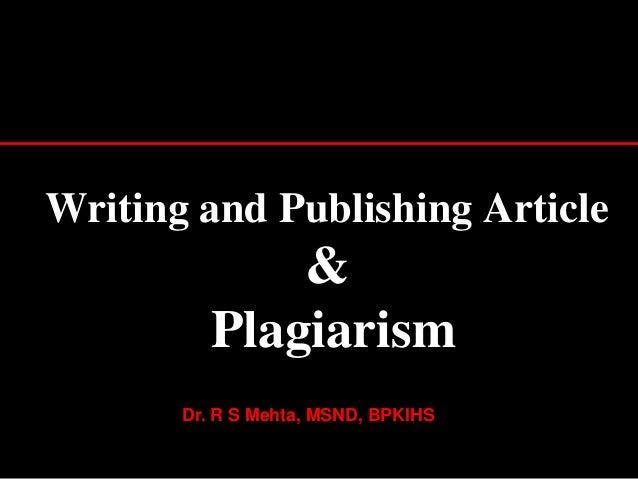 Writing,  publishing article & plagrism
